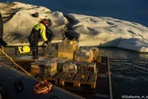 Preparation - here the candles are placed on the icebergs