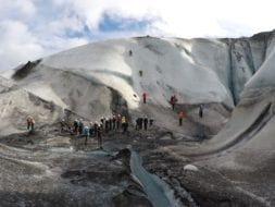 Big group doing ice climbing