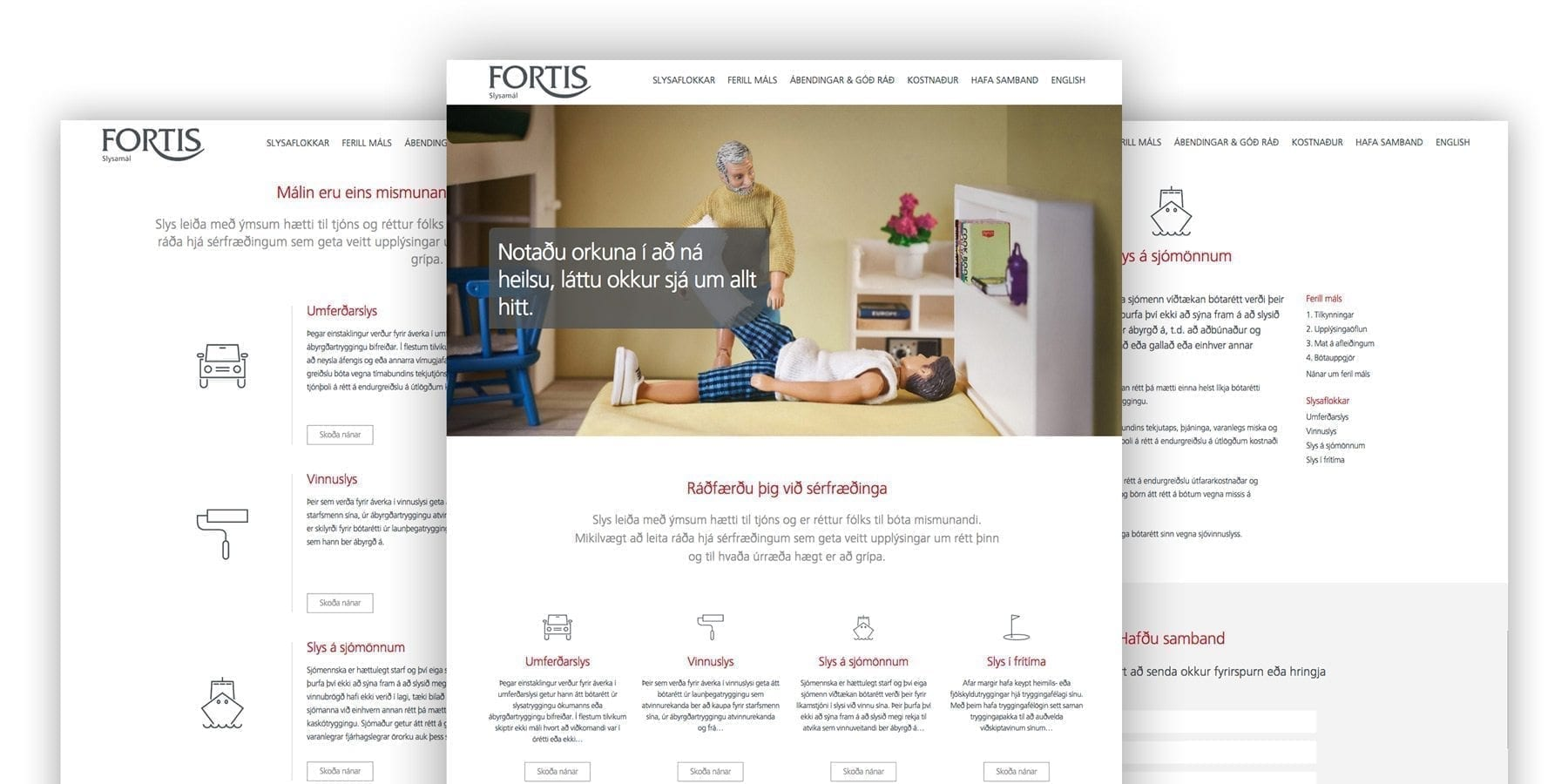 A mood board of Fortis Slysamál website